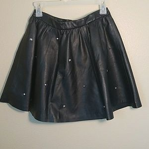 H&M black faux leather vegan skirt studded
